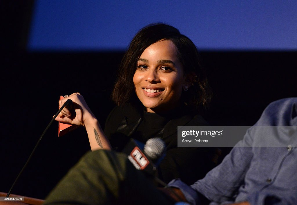 Actress <a gi-track='captionPersonalityLinkClicked' href=/galleries/search?phrase=Zoe+Kravitz&family=editorial&specificpeople=680250 ng-click='$event.stopPropagation()'>Zoe Kravitz</a> Speaks on stage at the premiere of 'The Road Within' during the 2014 Los Angeles Film Festival at Regal Cinemas L.A. Live on June 18, 2014 in Los Angeles, California.