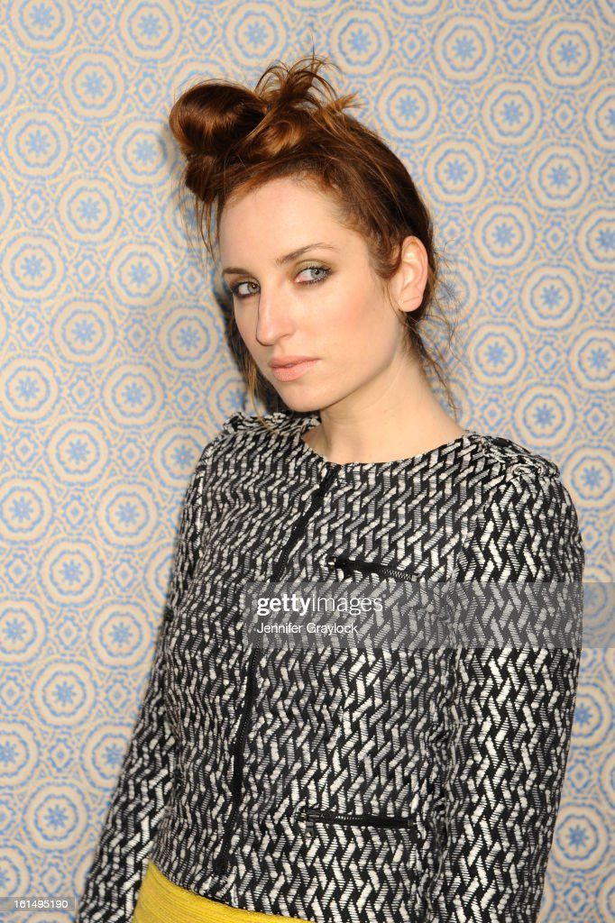 Actress Zoe Lister Jones poses at the Alice + Olivia By Stacey Bendet Fall 2013 fashion show presentation during Mercedes-Benz Fashion Week at Highline Stages on February 11, 2013 in New York City.
