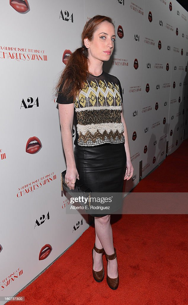 Actress Zoe Lister-Jones attends the Los Angeles premiere of A24's 'A Glimpse Inside The Mind Of Charles Swan III' at ArcLight Hollywood on February 4, 2013 in Hollywood, California.