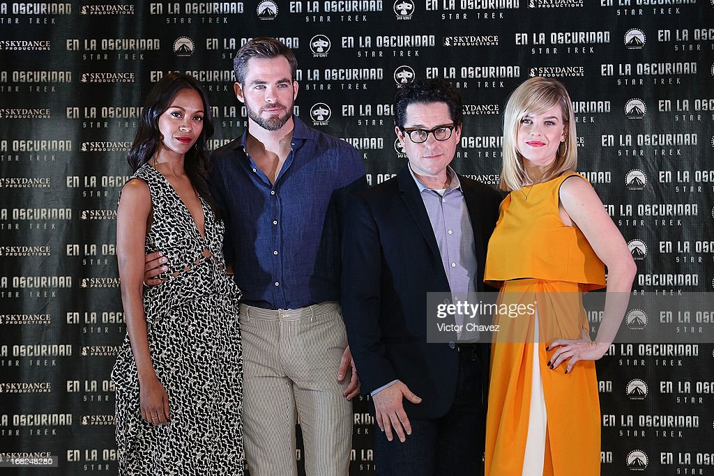 Actress Zoe Saldana, actor Chris Pine, film director J.J. Abrams and actress Alice Eve attend a photocall to promote the new film 'Star Trek Into Darkness' at Four Seasons Hotel on May 7, 2013 in Mexico City, Mexico.