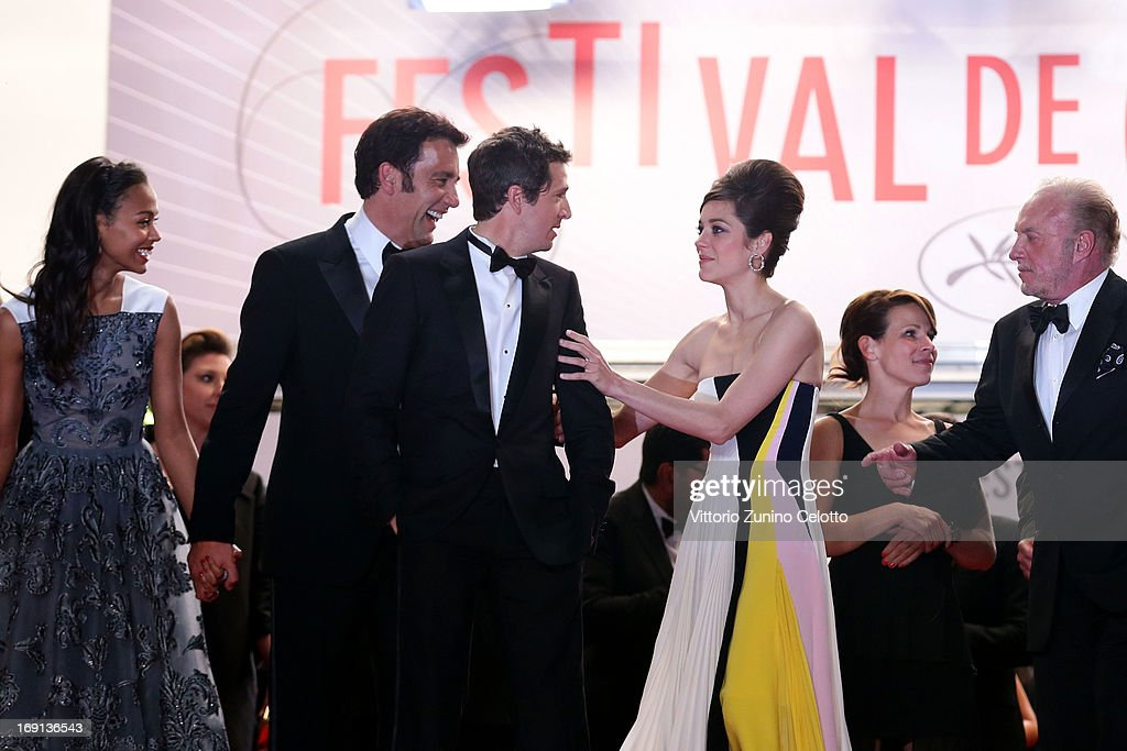 Actress Zoe Saldana, actor Clive Owen, director Guillaume Canet, actresses Marion Cotillard and Lili Taylor and actor James Caan attend the 'Blood Ties' Premiere during the 66th Annual Cannes Film Festival at the Palais des Festivals on May 20, 2013 in Cannes, France.