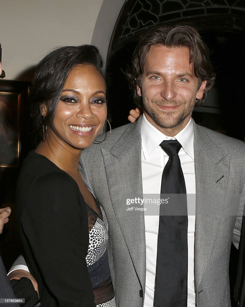 Actress Zoe Saldana and actor Bradley Cooper attend the SILVER LININGS PLAYBOOK Event Hosted By Lexus And Purity Vodka at Chateau Marmont on December 7, 2012 in Los Angeles, California.
