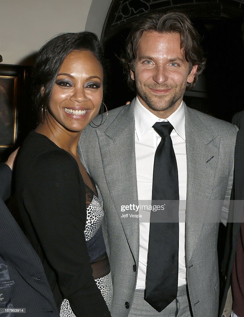 Actress <a gi-track='captionPersonalityLinkClicked' href=/galleries/search?phrase=Zoe+Saldana&family=editorial&specificpeople=542691 ng-click='$event.stopPropagation()'>Zoe Saldana</a> and actor <a gi-track='captionPersonalityLinkClicked' href=/galleries/search?phrase=Bradley+Cooper&family=editorial&specificpeople=680224 ng-click='$event.stopPropagation()'>Bradley Cooper</a> attend the SILVER LININGS PLAYBOOK Event Hosted By Lexus And Purity Vodka at Chateau Marmont on December 7, 2012 in Los Angeles, California.