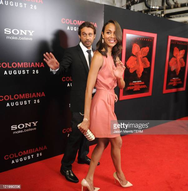 Actress Zoe Saldana and actor Jordi Molla arrive at the screening of Columbia Pictures' 'Colombiana' on August 24 2011 in Los Angeles California