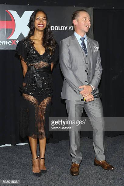Actress Zoe Saldana and Actor Simon Pegg attend the premiere of the Paramount Pictures title 'Star Trek Beyond' at Cinemex Antara Polanco on August...