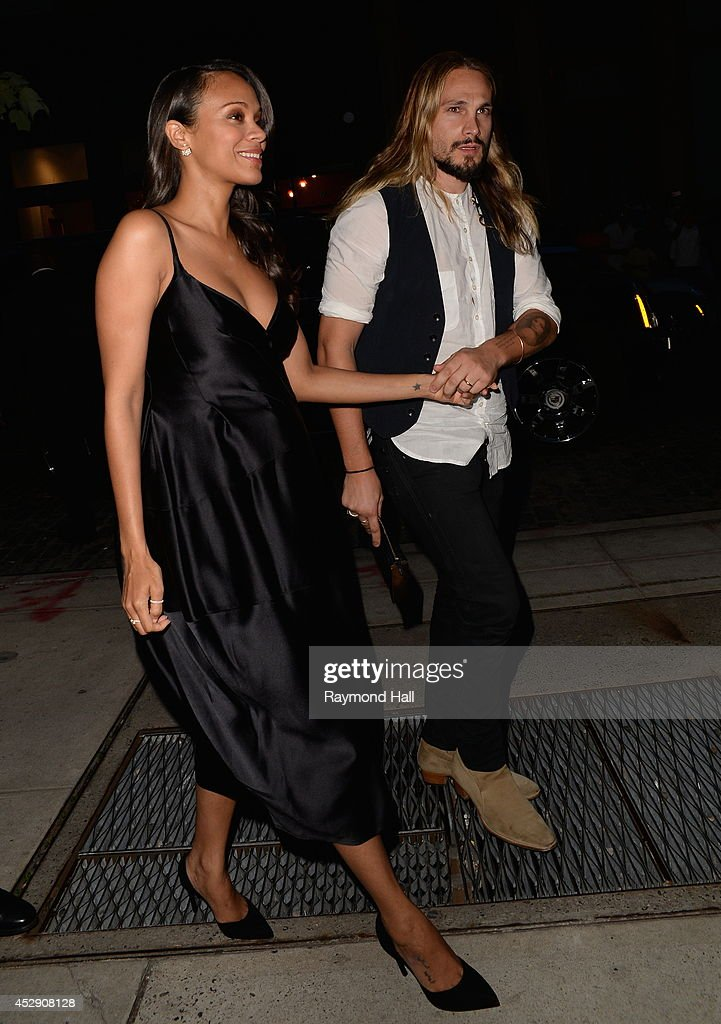 Actress <a gi-track='captionPersonalityLinkClicked' href=/galleries/search?phrase=Zoe+Saldana&family=editorial&specificpeople=542691 ng-click='$event.stopPropagation()'>Zoe Saldana</a> and husband <a gi-track='captionPersonalityLinkClicked' href=/galleries/search?phrase=Marco+Perego&family=editorial&specificpeople=3061782 ng-click='$event.stopPropagation()'>Marco Perego</a> are seen in Soho on July 29, 2014 in New York City.