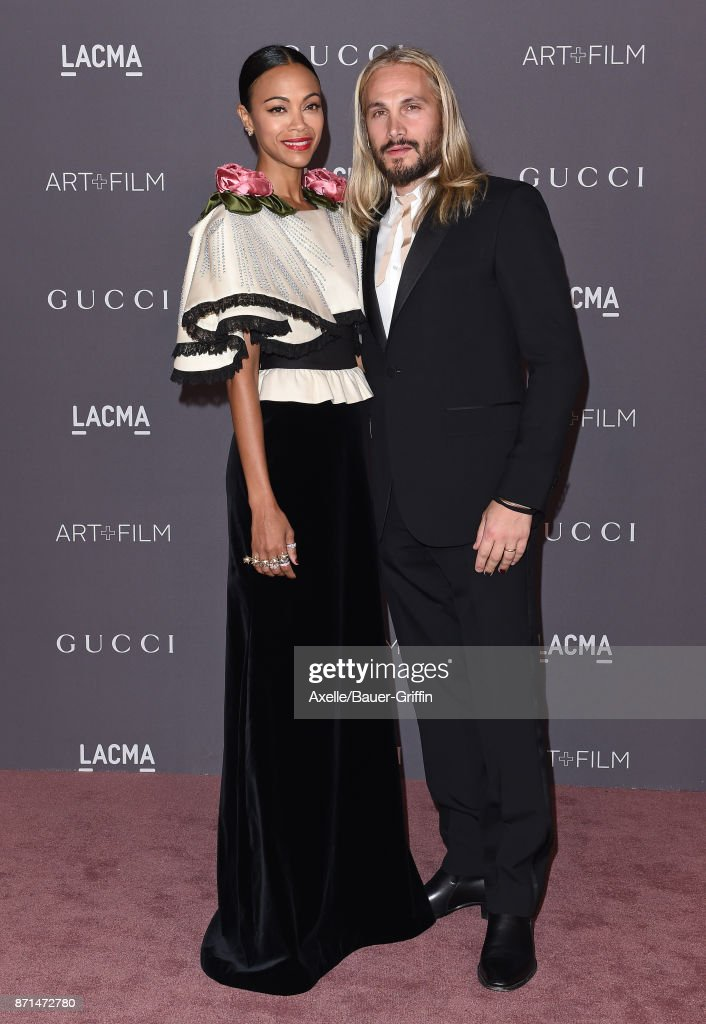 Actress Zoe Saldana and husband Marco Perego arrive at the 2017 LACMA Art + Film Gala at LACMA on November 4, 2017 in Los Angeles, California.