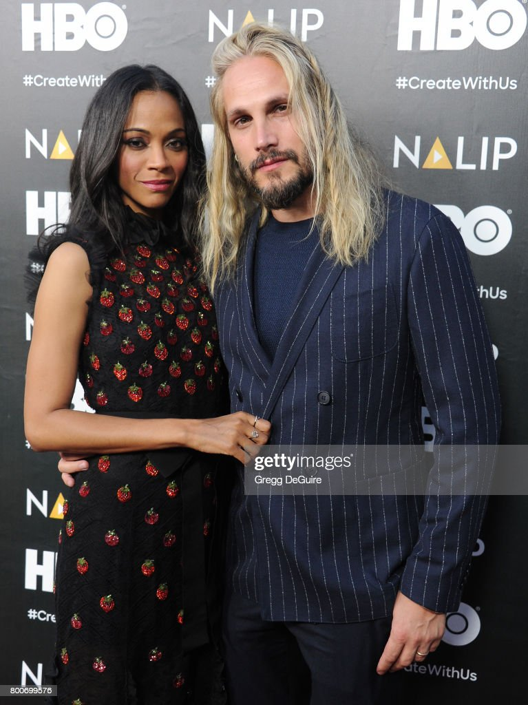 Actress Zoe Saldana and Marco Perego arrive at the NALIP 2017 Latino Media Awards at The Ray Dolby Ballroom at Hollywood & Highland Center on June 24, 2017 in Hollywood, California.