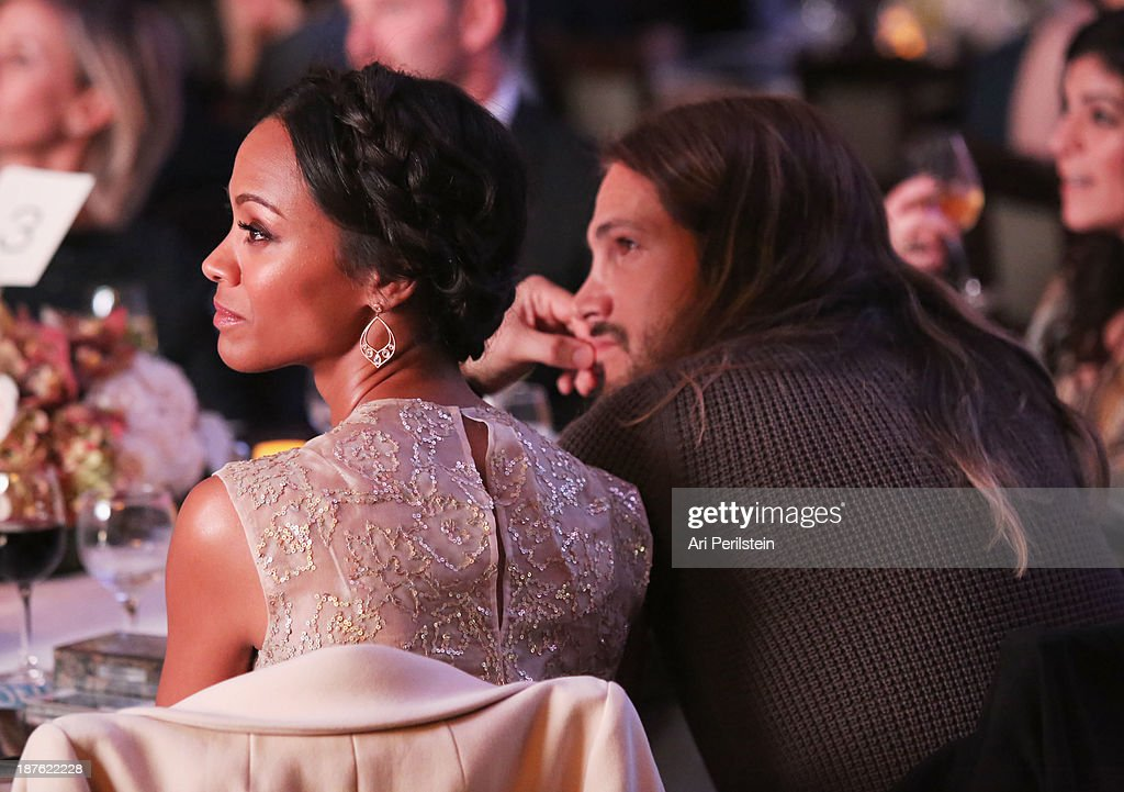 Actress Zoe Saldana and Marco Perego attend Hamilton and Los Angeles Confidential Magazine's announcement of the 7th Annual Hamilton Behind The Camera Awards at The Wilshire Ebell Theatre on November 10, 2013 in Los Angeles, California.