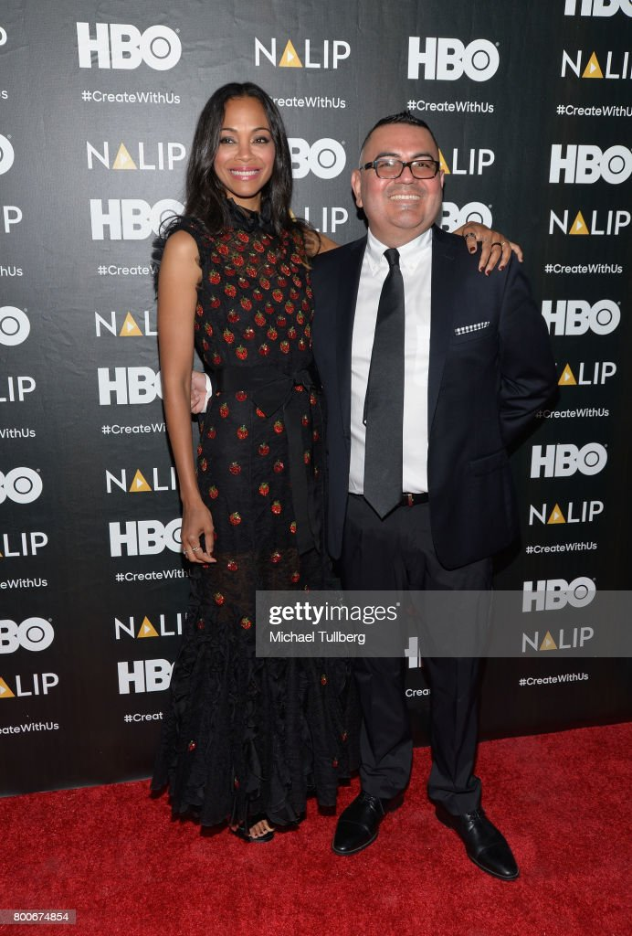Actress Zoe Saldana and NALIP executive director Benjamin Lopez attend the NALIP 2017 Latino Media Awards at The Ray Dolby Ballroom at Hollywood & Highland Center on June 24, 2017 in Hollywood, California.