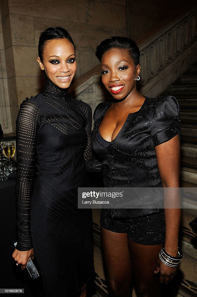 Actress Zoe Saldana and singer Estelle attend the 2010 amfAR New York Inspiration Gala at The New York Public Library on June 3 2010 in New York New...