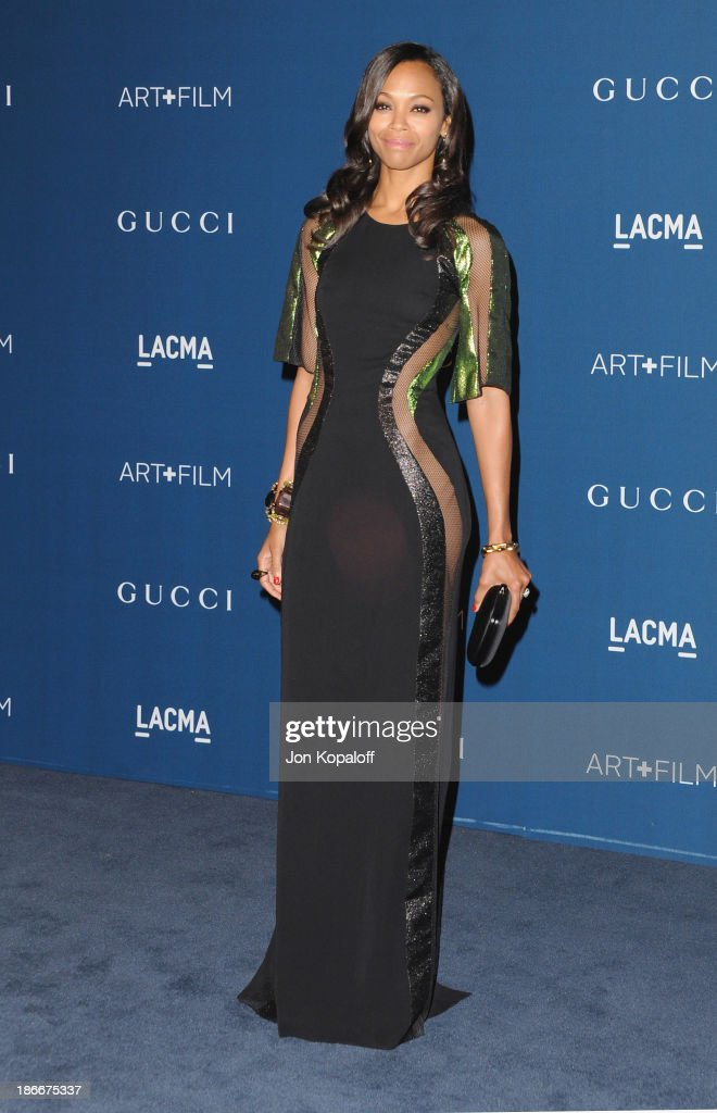 Actress <a gi-track='captionPersonalityLinkClicked' href=/galleries/search?phrase=Zoe+Saldana&family=editorial&specificpeople=542691 ng-click='$event.stopPropagation()'>Zoe Saldana</a> arrives at LACMA 2013 Art + Film Gala at LACMA on November 2, 2013 in Los Angeles, California.