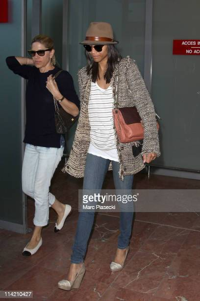 Actress Zoe Saldana arrives at Nice airport on May 16 2011 in Nice France