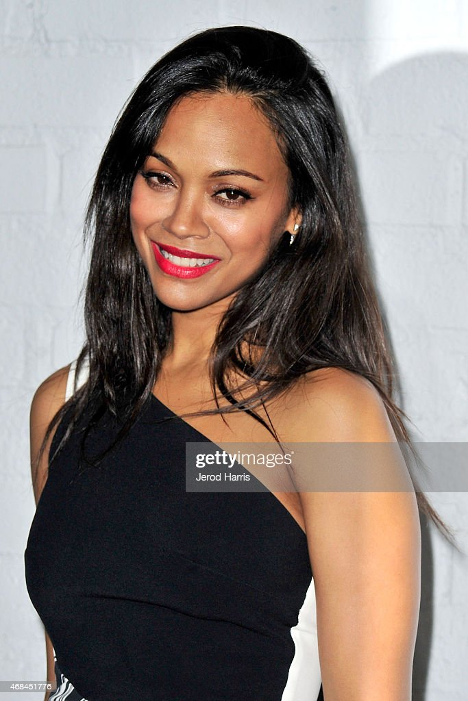 Actress Zoe Saldana arrives at Samsung celebrates the launch of Galaxy S 6 and Galaxy S 6 edge at Quixote Studios on April 2, 2015 in Los Angeles, California.