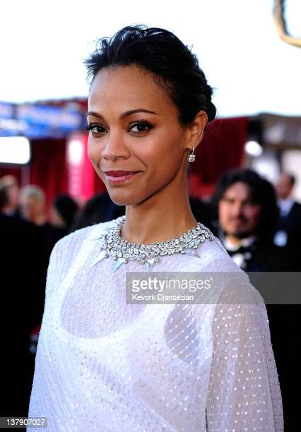 Actress Zoe Saldana arrives at the 18th Annual Screen Actors Guild Awards at The Shrine Auditorium on January 29 2012 in Los Angeles California