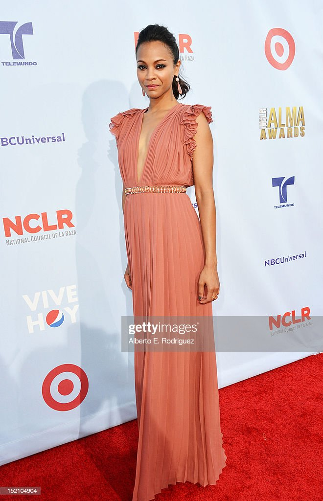 Actress <a gi-track='captionPersonalityLinkClicked' href=/galleries/search?phrase=Zoe+Saldana&family=editorial&specificpeople=542691 ng-click='$event.stopPropagation()'>Zoe Saldana</a> arrives at the 2012 NCLR ALMA Awards at Pasadena Civic Auditorium on September 16, 2012 in Pasadena, California.