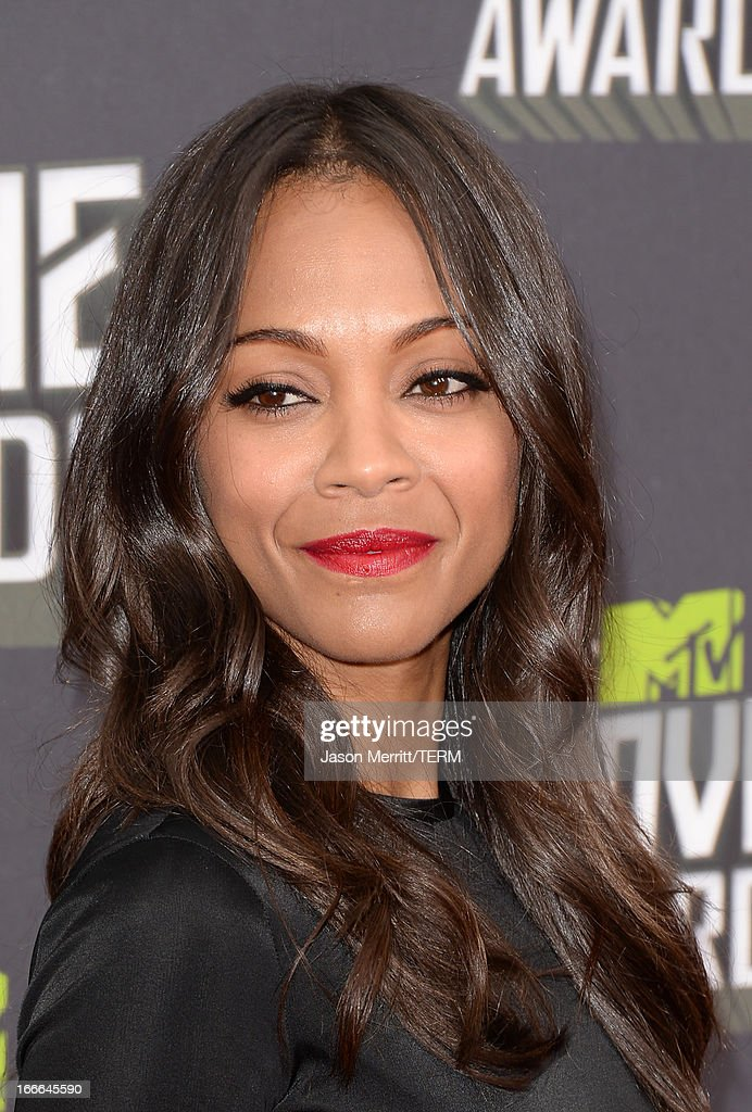 Actress Zoe Saldana arrives at the 2013 MTV Movie Awards at Sony Pictures Studios on April 14, 2013 in Culver City, California.