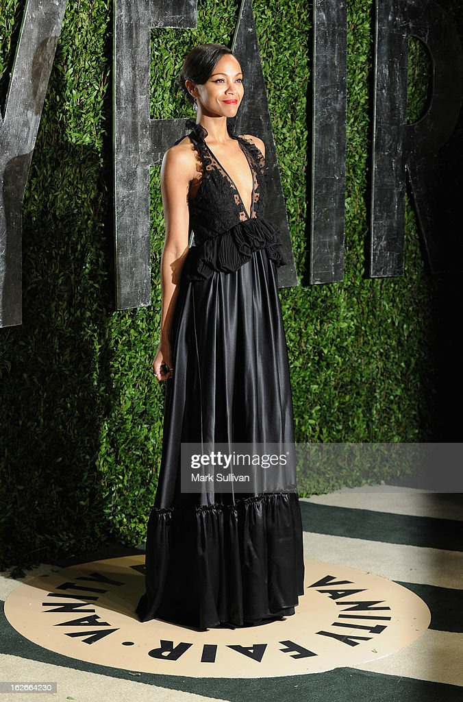 Actress Zoe Saldana arrives at the 2013 Vanity Fair Oscar Party at Sunset Tower on February 24, 2013 in West Hollywood, California.