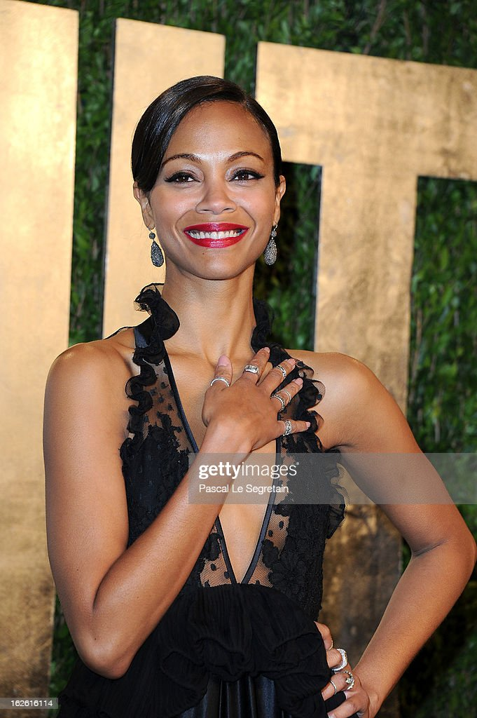 Actress Zoe Saldana arrives at the 2013 Vanity Fair Oscar Party hosted by Graydon Carter at Sunset Tower on February 24, 2013 in West Hollywood, California.