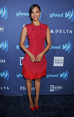 Actress Zoe Saldana arrives at the 26th Annual GLAAD Media Awards at The Beverly Hilton Hotel on March 21 2015 in Beverly Hills California