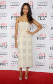Actress Zoe Saldana arrives at the AFI FEST 2013 premiere of 'Out Of The Furnace' at TCL Chinese Theatre on November 9 2013 in Hollywood California