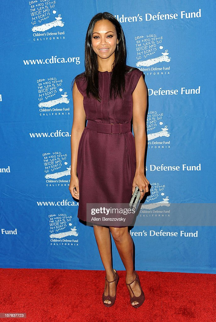 Actress <a gi-track='captionPersonalityLinkClicked' href=/galleries/search?phrase=Zoe+Saldana&family=editorial&specificpeople=542691 ng-click='$event.stopPropagation()'>Zoe Saldana</a> arrives at the Children's Defense Fund of California 22nd Annual Beat The Odds Awards at Beverly Hills Hotel on December 6, 2012 in Beverly Hills, California.