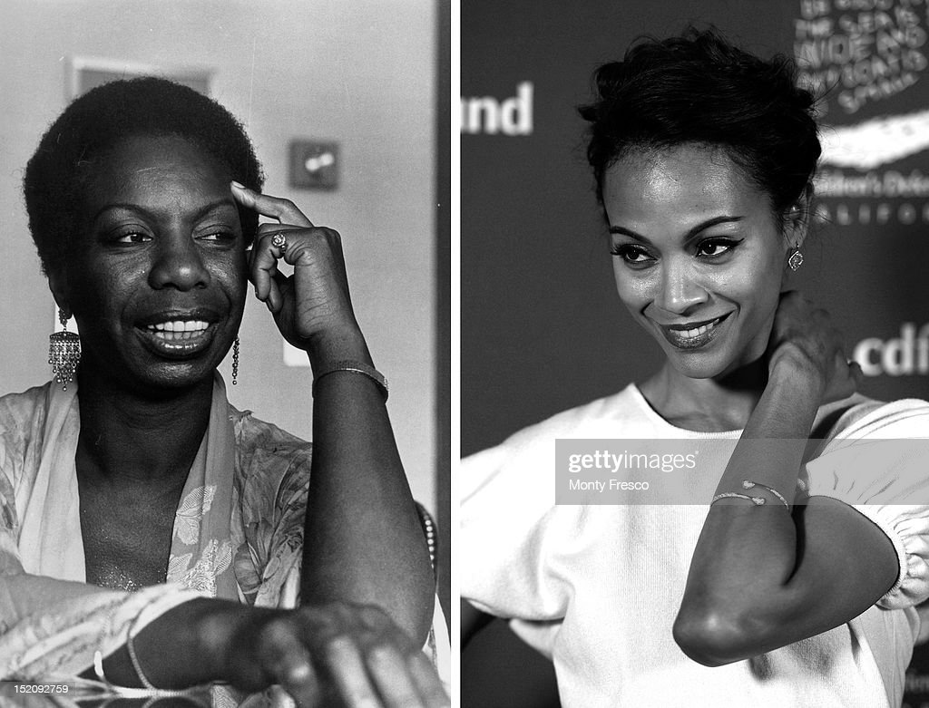 In this composite image a comparison has been made between Nina Simone (L) and actress Zoe Saldana. Zoe Saldana will reportedly play Nina Simone in a film biopic by writer and director Cynthia Mort and executive producer Jimmy Lovine. BEVERLY HILLS, CA - DECEMBER 01: (EDITORS