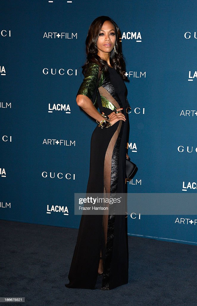 Actress Zoe Saldana arrives at the LACMA 2013 Art + Film Gala on November 2, 2013 in Los Angeles, California.