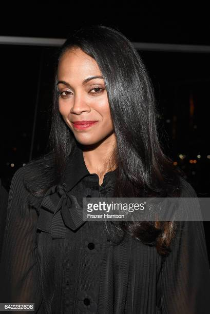 Actress Zoe Saldana arrives at the Los Angeles Confidential Winter Issue celebration with cover star Zoe Saldana at 3033 Wilshire on February 16 2017...