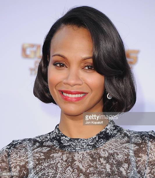 Actress Zoe Saldana arrives at the Los Angeles Premiere 'Guardians Of The Galaxy' at the El Capitan Theatre on July 21 2014 in Hollywood California