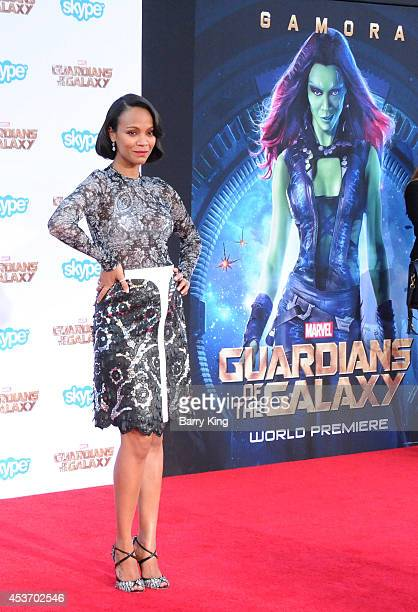 Actress Zoe Saldana arrives at the Los Angeles Premiere 'Guardians Of The Galaxy' on July 21 2014 at the El Capitan Theatre in Hollywood California