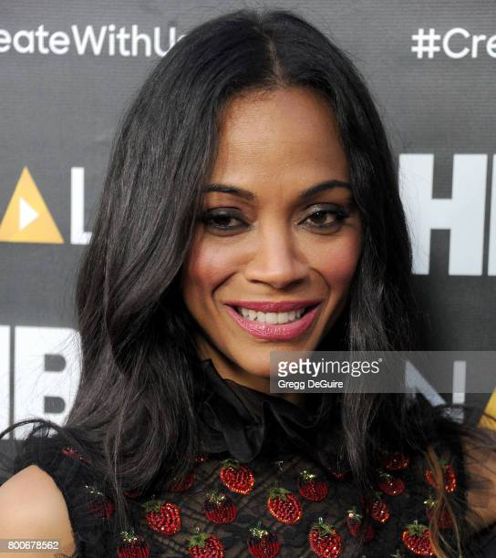 Actress Zoe Saldana arrives at the NALIP 2017 Latino Media Awards at The Ray Dolby Ballroom at Hollywood Highland Center on June 24 2017 in Hollywood...