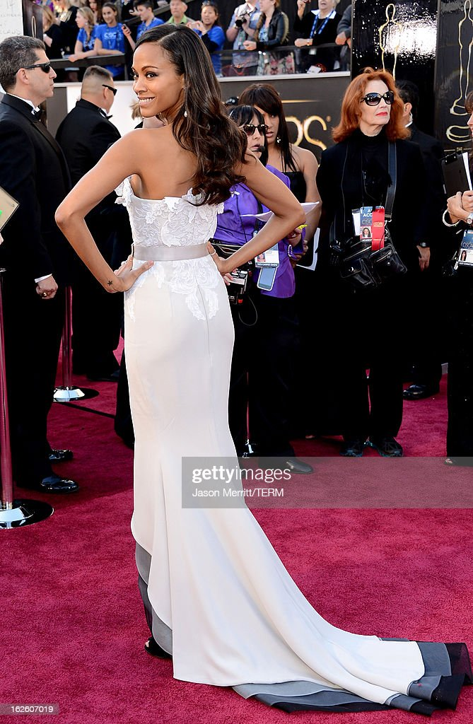 Actress Zoe Saldana arrives at the Oscars at Hollywood & Highland Center on February 24, 2013 in Hollywood, California.