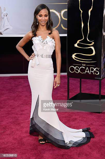Actress Zoe Saldana arrives at the Oscars held at Hollywood Highland Center on February 24 2013 in Hollywood California