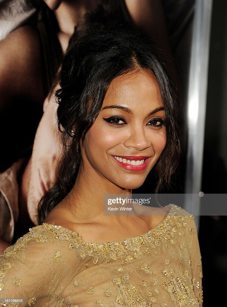 Actress <a gi-track='captionPersonalityLinkClicked' href=/galleries/search?phrase=Zoe+Saldana&family=editorial&specificpeople=542691 ng-click='$event.stopPropagation()'>Zoe Saldana</a> arrives at the premiere of CBS Films' 'The Words' at the Arclight Theatre on September 4, 2012 in Los Angeles, California.
