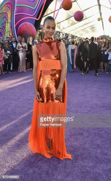 Actress Zoe Saldana arrives at the premiere of Disney and Marvel's 'Guardians Of The Galaxy Vol 2' at Dolby Theatre on April 19 2017 in Hollywood...