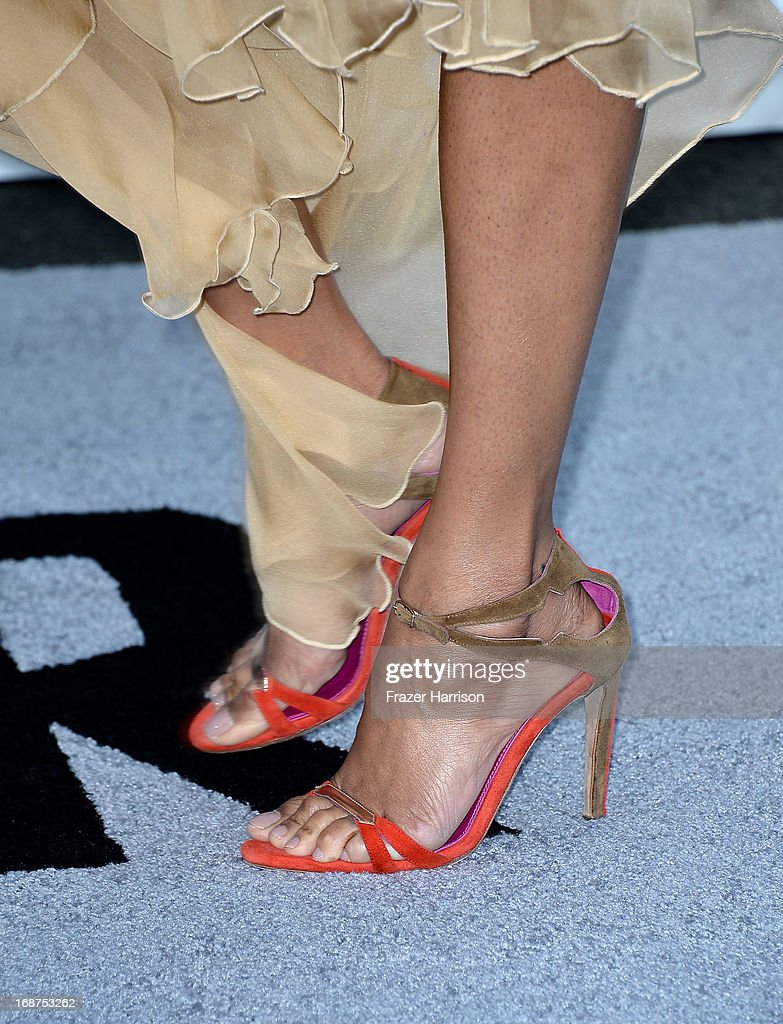 Actress Zoe Saldana (shoe detail) arrives at the premiere of Paramount Pictures' 'Star Trek Into Darkness' at Dolby Theatre on May 14, 2013 in Hollywood, California.