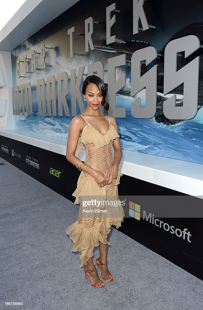 Actress <a gi-track='captionPersonalityLinkClicked' href=/galleries/search?phrase=Zoe+Saldana&family=editorial&specificpeople=542691 ng-click='$event.stopPropagation()'>Zoe Saldana</a> arrives at the Premiere of Paramount Pictures' 'Star Trek Into Darkness' at Dolby Theatre on May 14, 2013 in Hollywood, California.