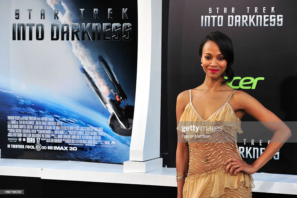 Actress <a gi-track='captionPersonalityLinkClicked' href=/galleries/search?phrase=Zoe+Saldana&family=editorial&specificpeople=542691 ng-click='$event.stopPropagation()'>Zoe Saldana</a> arrives at the premiere of Paramount Pictures' 'Star Trek Into Darkness' at the Dolby Theatre on May 14, 2013 in Hollywood, California.