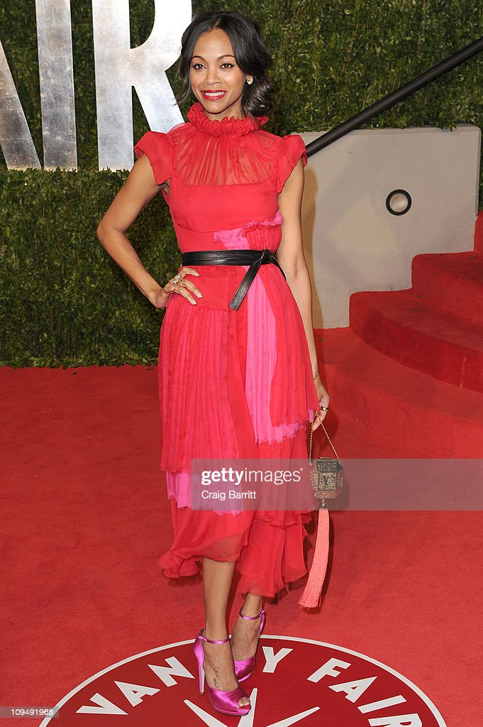 Actress <a gi-track='captionPersonalityLinkClicked' href=/galleries/search?phrase=Zoe+Saldana&family=editorial&specificpeople=542691 ng-click='$event.stopPropagation()'>Zoe Saldana</a> arrives at the Vanity Fair Oscar party hosted by Graydon Carter held at Sunset Tower on February 27, 2011 in West Hollywood, California.