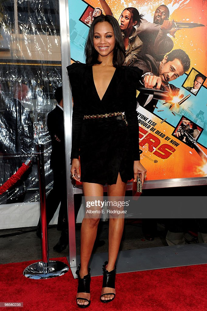 Actress Zoe Saldana arrives at Warner Bros 'The Losers' premiere at Grauman's Chinese Theatre on April 20 2010 in Los Angeles California