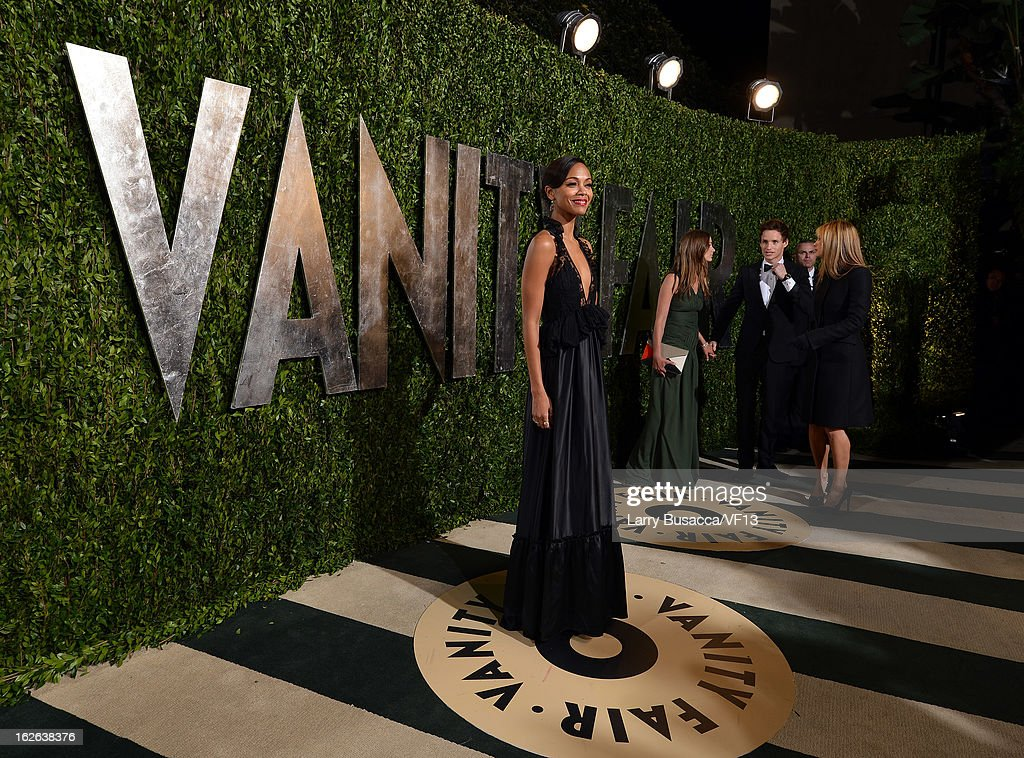 Actress Zoe Saldana arrives for the 2013 Vanity Fair Oscar Party hosted by Graydon Carter at Sunset Tower on February 24, 2013 in West Hollywood, California.