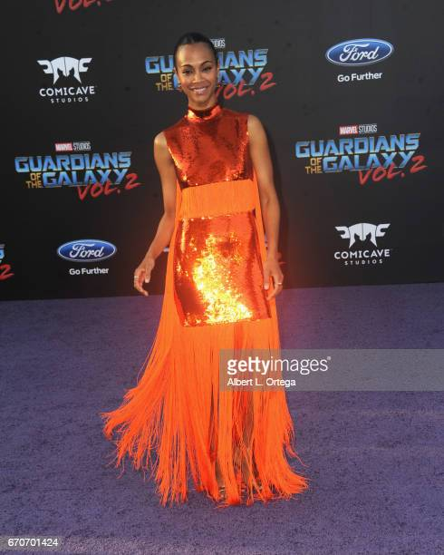 Actress Zoe Saldana arrives for the Premiere Of Disney And Marvel's 'Guardians Of The Galaxy Vol 2' held at Dolby Theatre on April 19 2017 in...