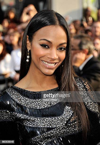 Actress Zoe Saldana arrives on the red carpet of the Los Angeles premiere of 'Star Trek' at the Grauman's Chinese Theatre on April 30 2009 in...
