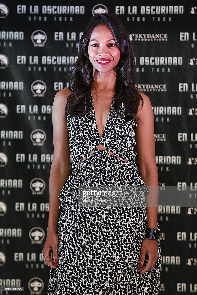 Actress Zoe Saldana attends a photocall to promote the new film 'Star Trek Into Darkness' at Four Seasons Hotel on May 7, 2013 in Mexico City, Mexico.