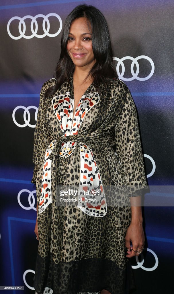 Actress <a gi-track='captionPersonalityLinkClicked' href=/galleries/search?phrase=Zoe+Saldana&family=editorial&specificpeople=542691 ng-click='$event.stopPropagation()'>Zoe Saldana</a> attends Audi Celebrates Emmys' Week 2014 at Cecconi's Restaurant on August 21, 2014 in Los Angeles, California.