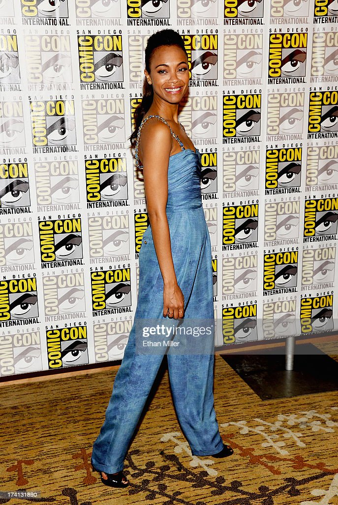 Actress Zoe Saldana attends Marvel's 'Guardians of The Galaxy' press line during Comic-Con International 2013 at the Hilton San Diego Bayfront Hotel on July 20, 2013 in San Diego, California.