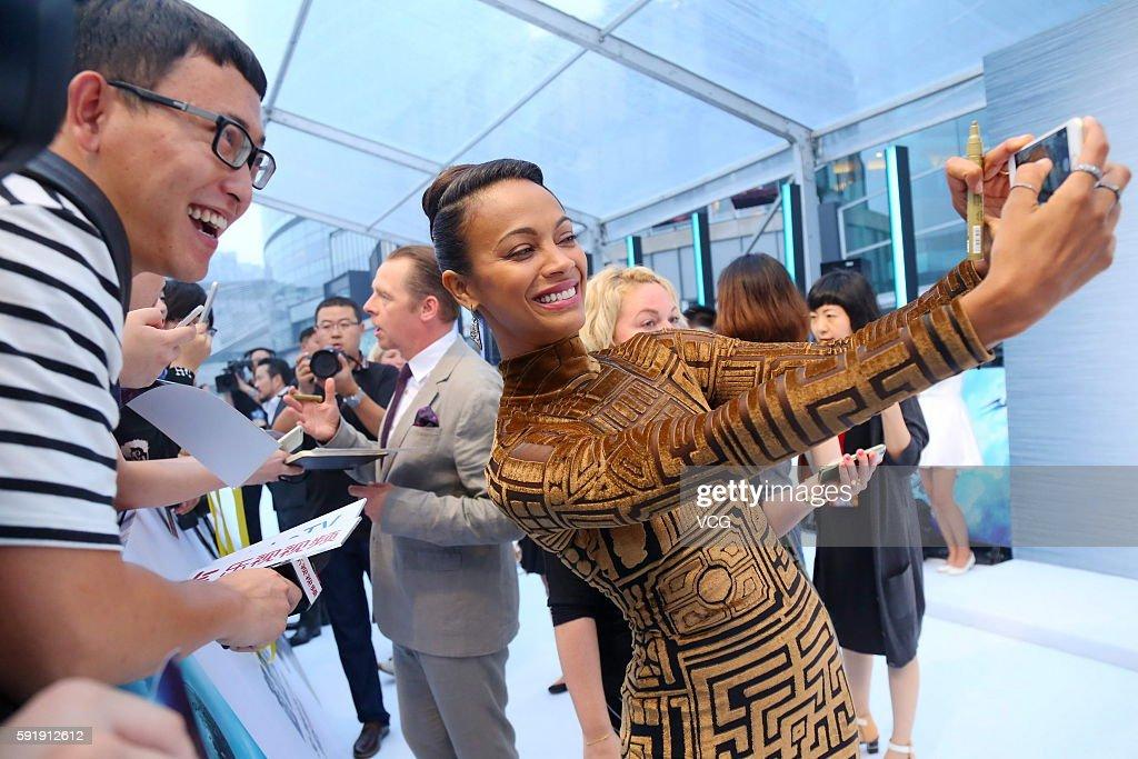Actress Zoe Saldana attends 'Star Trek Beyond' red carpet at Indigo Mall on August 18 2016 in Beijing China