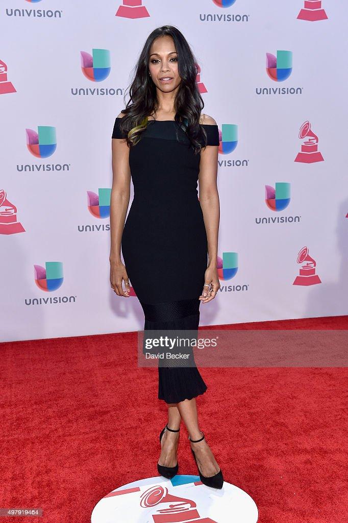 Actress Zoe Saldana attends the 16th Latin GRAMMY Awards at the MGM Grand Garden Arena on November 19, 2015 in Las Vegas, Nevada.
