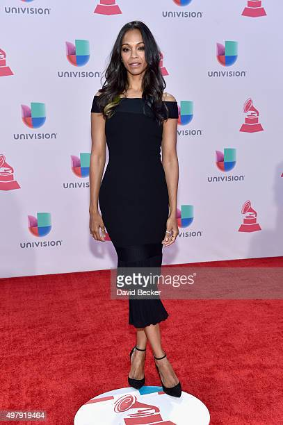 Actress Zoe Saldana attends the 16th Latin GRAMMY Awards at the MGM Grand Garden Arena on November 19 2015 in Las Vegas Nevada